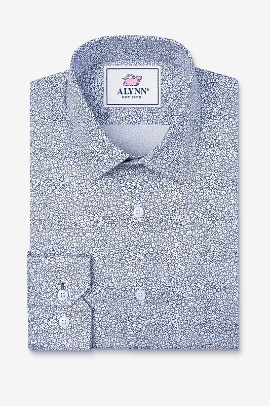 Reid Floral White Slim Fit Untuckable Dress Shirt
