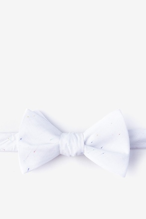 Teague White Self-Tie Bow Tie