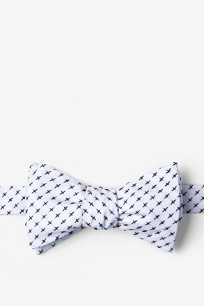 White Criss Cross Butterfly Bow Tie
