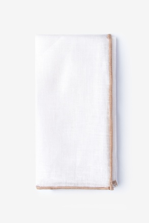 Beige Edged Linen White Pocket Square