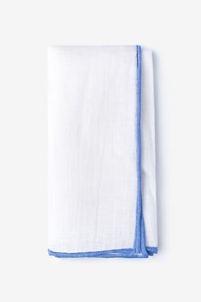 Blue Edged Linen White Pocket Square