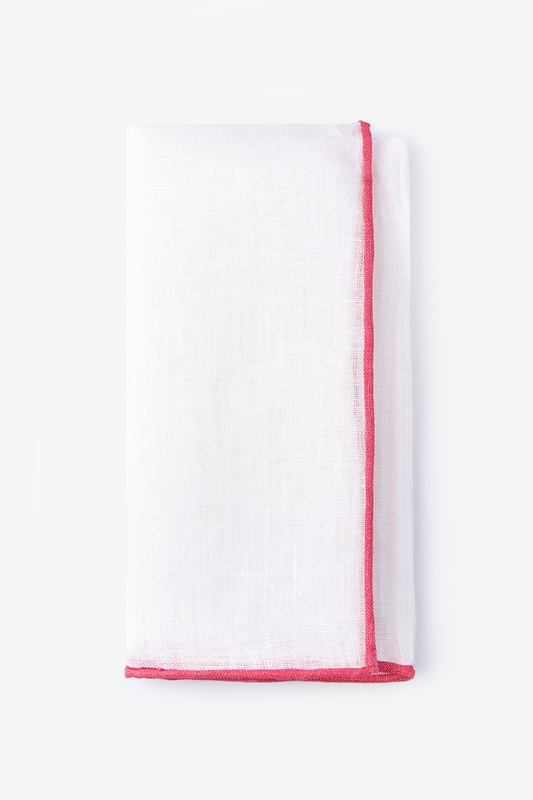 Coral Edged Linen Pocket Square
