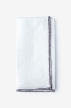 Gray Edged Linen White Pocket Square