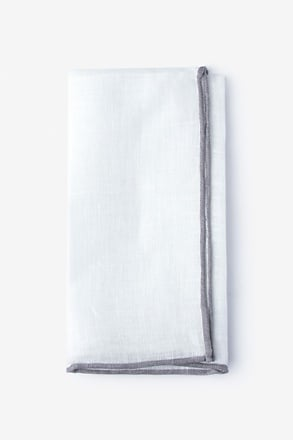 Gray Edged Linen Pocket Square