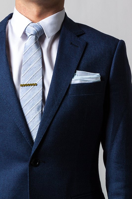 230b31141b9b White Linen Pocket Square with Light Blue Embroidered Edge | Ties.com