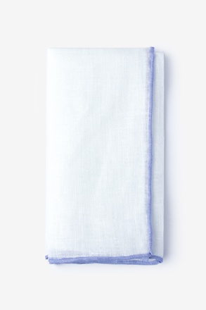Lilac Edged Linen White Pocket Square