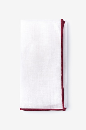 Maroon Edged Linen Pocket Square