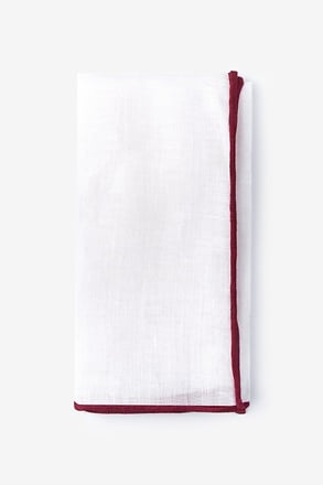 Maroon Edged Linen White Pocket Square