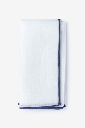 _Navy Edged Linen White Pocket Square_