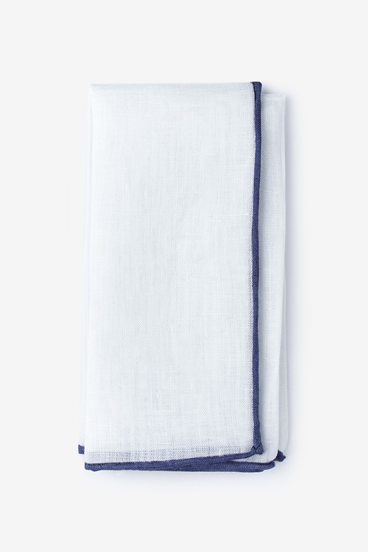 Navy Edged Linen White Pocket Square