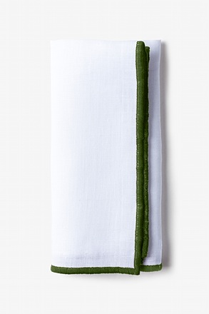 Olive Edged Linen Pocket Square