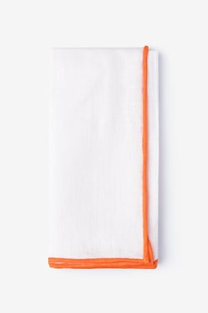 Orange Edged Linen White Pocket Square