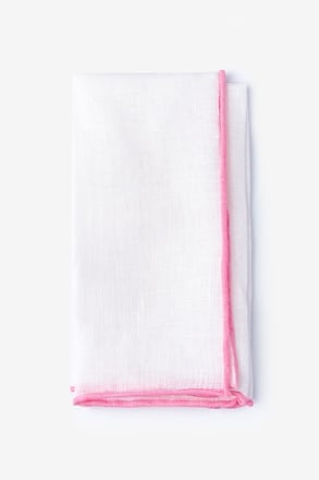 Pink Edged Linen Pocket Square