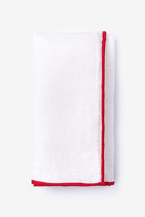 Red Edged Linen Pocket Square
