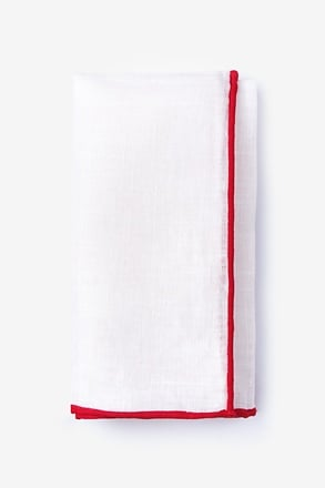 _Red Edged Linen Pocket Square_