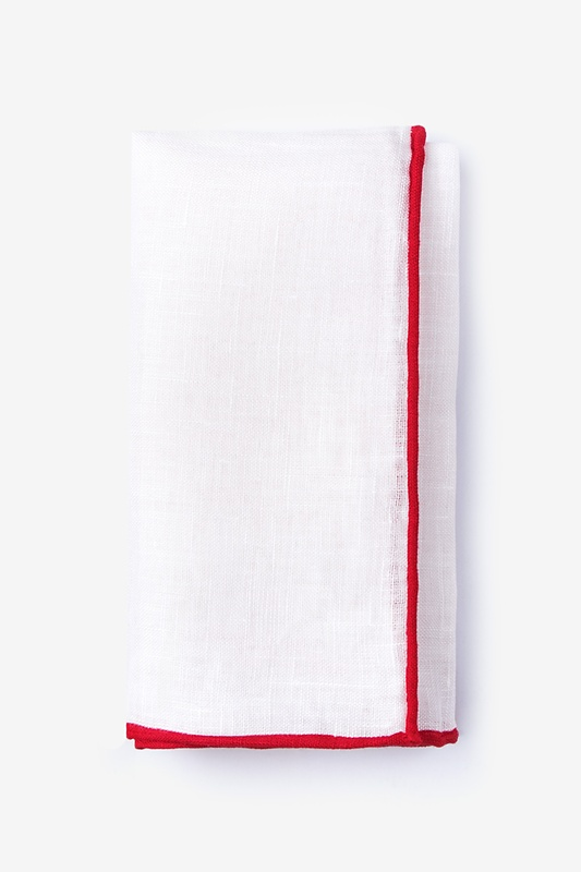 Red Edged Linen Pocket Square Photo (0)