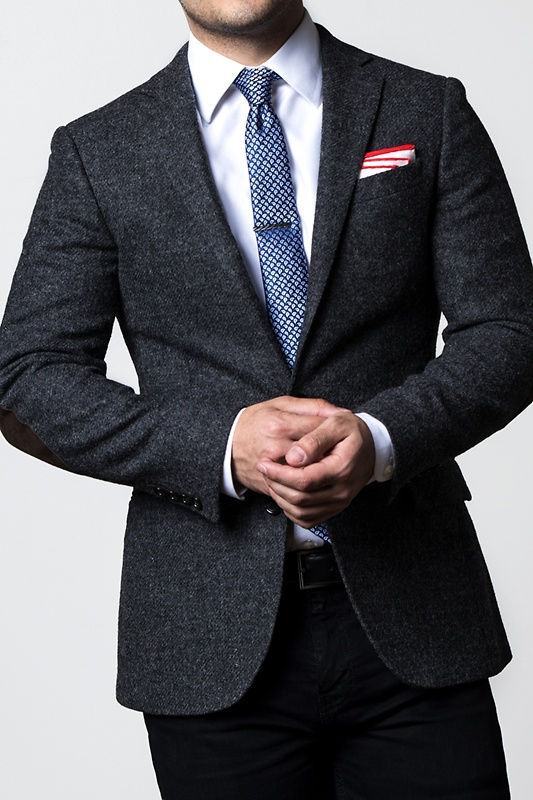 Red Edged Linen Pocket Square Photo (1)