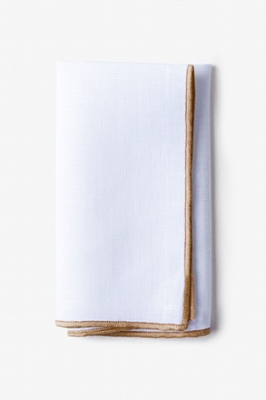 Taupe Edged Linen Pocket Square