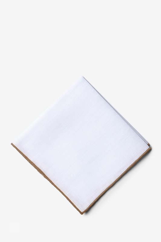 58b31ca41fcfd White Linen Pocket Square with Taupe Embroidered Edge | Ties.com