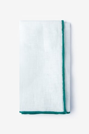 _Teal Edged Linen Pocket Square_