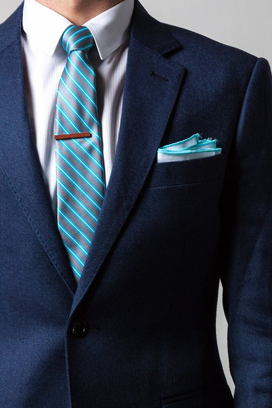 0e4a5b0b5d01e White Linen Pocket Square with Turquoise Embroidered Edge | Ties.com