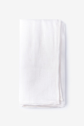 White Edged Linen Pocket Square