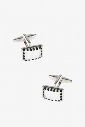 _3D Checked Rectangle White Cufflinks_
