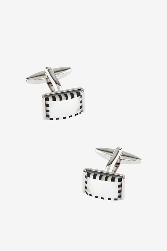3D Checked Rectangle White Cufflinks Photo (0)