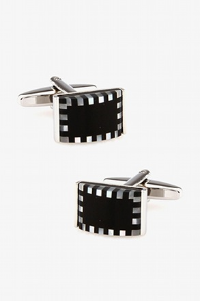 3D Checkered Rectangle White Cufflinks