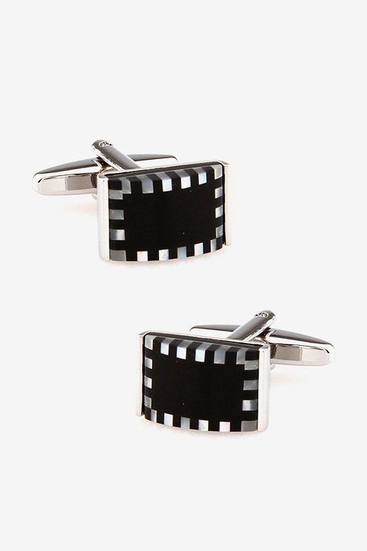 3D Checkered Rectangle White Cufflinks Photo (0)