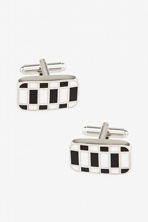 _Abstract Geo White Cufflinks_