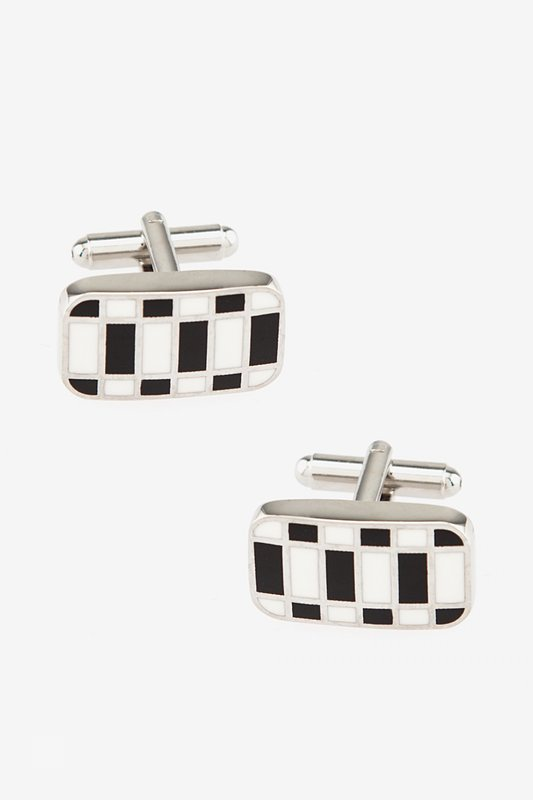 Abstract Geo White Cufflinks Photo (0)