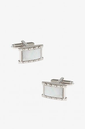 Bejeweled Boxed Rectangle White Cufflinks