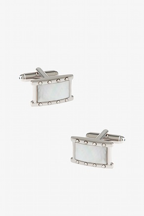 _Bejeweled Boxed Rectangle White Cufflinks_