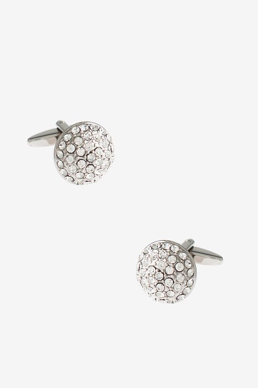 Blinged Out Round White Cufflinks Photo (0)