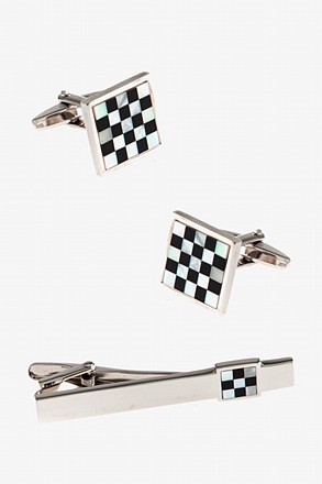 Checkered Square Bar Cufflink & Tie Bar Set