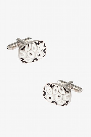 _Decorated Solid Oval White Cufflinks_