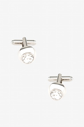 _Embellished Dome White Cufflinks_