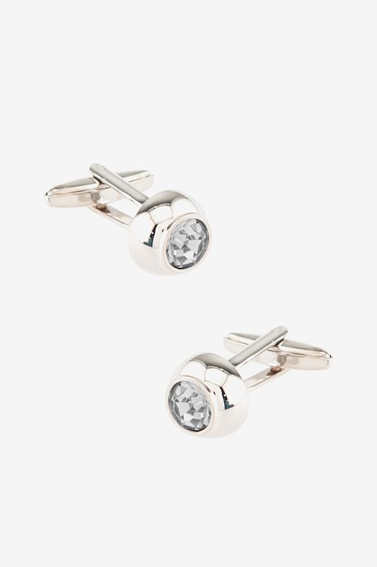 Embellished Dome White Cufflinks Photo (0)