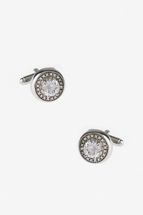 _Glitzier Round Diamond White Cufflinks_