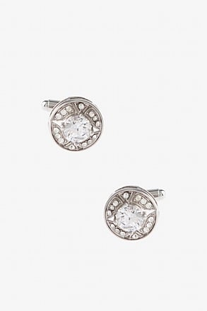 _Glitzy Round Diamond White Cufflinks_