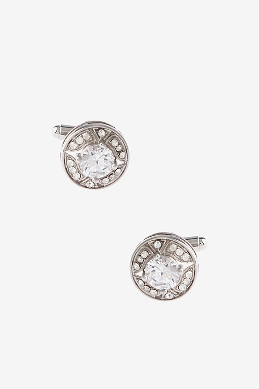 Glitzy Round Diamond White Cufflinks Photo (0)