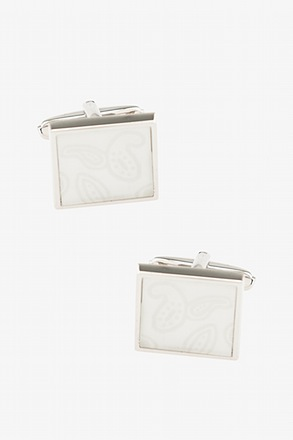 _Hint of Paisley White Cufflinks_