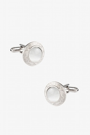 _Ornamented Cat Eye Round White Cufflinks_