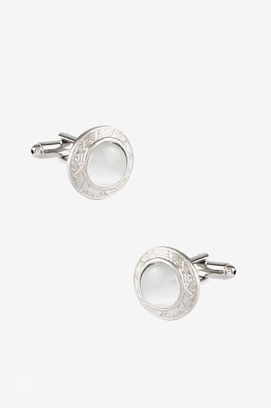 Ornamented Cat Eye Round White Cufflinks Photo (0)