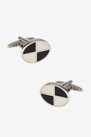 _Quarter Oval White Cufflinks_