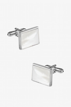 _Rectangular Pearl White Cufflinks_