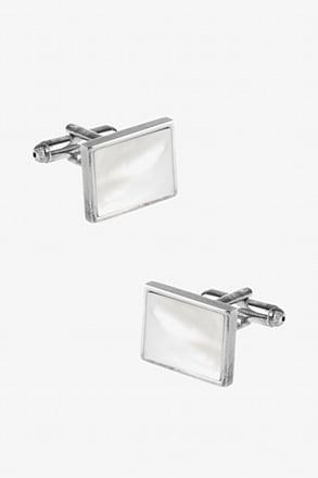 _Rectangular Pearl Cufflinks_