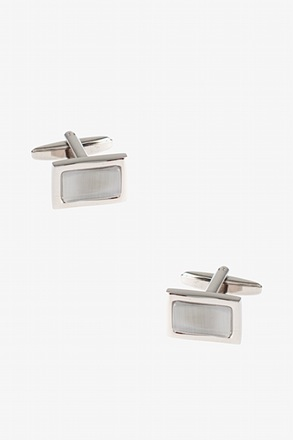 _Rectangular Solid Gem White Cufflinks_