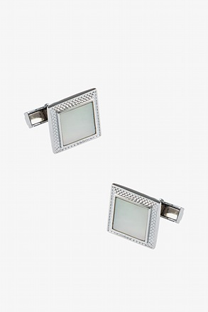_Shimmering Casing White Cufflinks_